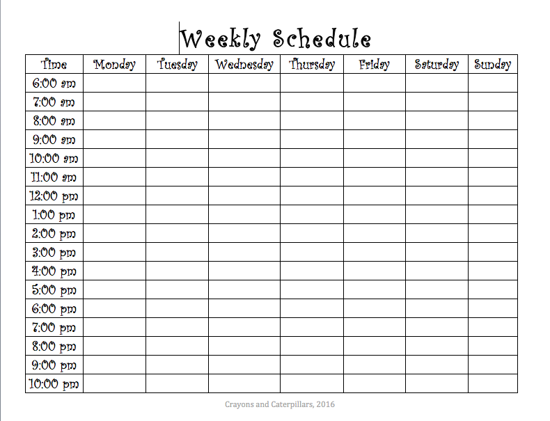 photo about Schedule Printable known as Weekly Program Printable Crayons and Caterpillars